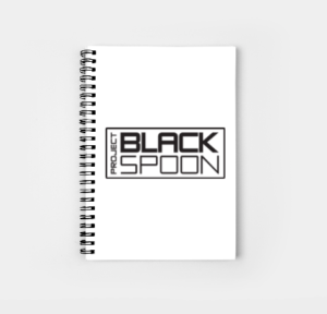Notebook with Project Black Spoon Logo